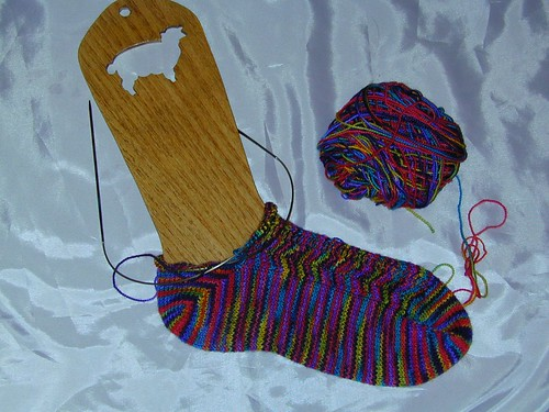Toe Up Sock with Chevron Pattern