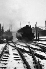 Trafford Park (Fray Bentos) Tags: manchester steamlocomotive traffordpark black5 stanier8f locomotiveshed stanier5mt