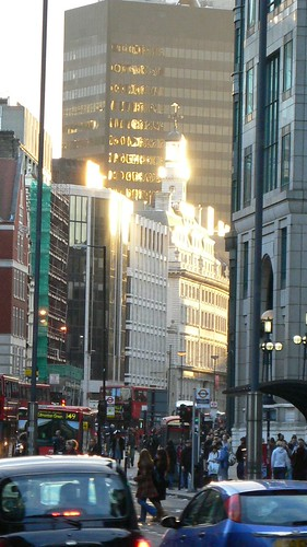 Bishopsgate buildings catching the sun