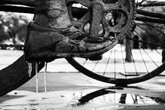 ice (LMiller Photography) Tags: blackandwhite sculpture reflection ice bicycle wheel metal shoe wichitafalls