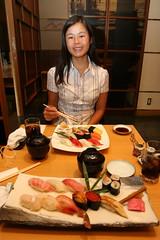 Soyan eating sushi in Tokyo