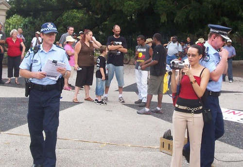 Inspector in charge (right of photo), and Senior Sergeant, Invasion Day Rally and March, Parliament House, George St, Brisbane, Queensland, Australia 070126