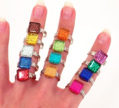 BLING Rings (jessprkle) Tags: glass glitter silver square colorful mosaic crafts jewelry ring sparkle explore tiles accessories bling etsy adjustable