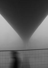 The Unknown Man.... (Willem_H) Tags: bridge light mist man reflection water fog maastricht blackwhite arch angle zwartwit brug maas hoge boog willem hekwerk hogebrug hoeg brögk fo7 huwaë