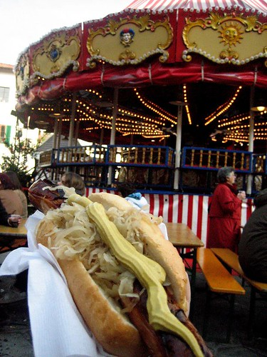 Sausage with Sauerkraut, Mustard, and a Carousel