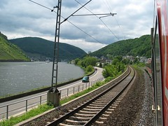 Three Ways to Travel (crbassett) Tags: travel train river germany day zug sunny valley deutschebahn bahn mosel moseltal