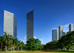 Monoliths of the New Age (DanielKHC) Tags: architecture buildings singapore sony sharp alpha soe hdr razor a100 monoliths sunteccity thegateway photomatix tonemapped 10faves skyarchitecture 5xp hdrenfrancais travelerphotos danielkhc