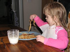 Eating spaghetti with a spoon