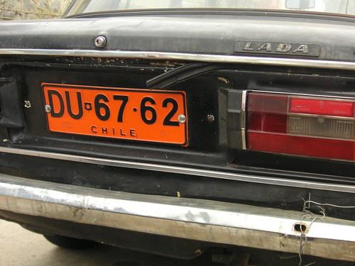Placa del auto chileno