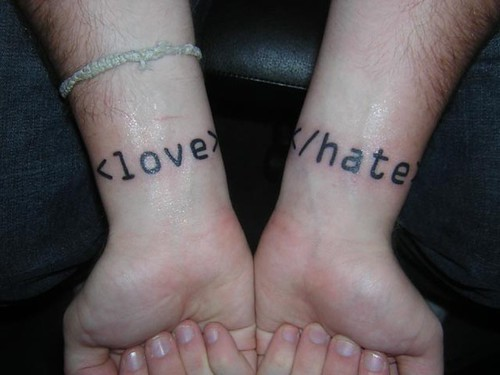repost of my wrist tattoos. begin love, end hate.