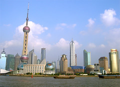 Shanghai (sherrylulu) Tags: china city travel blue sky house tower television river tv shanghai chinese highrise pudong televisiontower huangpu edifice huangpuriver
