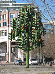 Stop Go (bettybean) Tags: sculpture trafficlights london roundabout canarywharf trafficlighttree pierrevivant