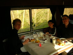 Mom, Caleb & I, Amtrak dining car breakfast