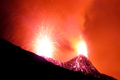 Vigorous Strombolian activity at Etna (Thomas Reichart ) Tags: italien italy orange fountain wow landscape volcano lava italia glow great sicily sec fracture etna fontaine eruption sicilia vulkan sizilien tna ejected blueribbonwinner birdpoem volcaniclandscape hornito ausbruch 2800m anawesomeshot southeastcrater strombolianactivity