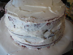 Red Velvet Cake (crumb coat!)
