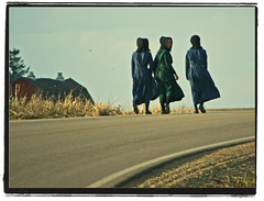 Three Amish Girls (Doc macaSTAT) Tags: road woman wisconsin rural walking spring highway er mask amish beercan alpha dslr emergency ems wi f4 70210 hooded viroqua splendiferous macasaet instantfave macastat impressedbeauty