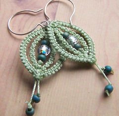 Leaflets (not.rachel) Tags: green glass silver french beads leaf spring handmade pale handcrafted sterling earrings etsy macrame hooks leaflets elpy leaftlet