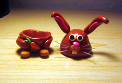 Little Funny Foo-Foo Decapitated!! (LadyRayCello) Tags: sculpture rabbit bunny art easter box craft polymerclay clay kawaii carrot etsy figurine lrc polymer threaders pcagoe ladyraycello