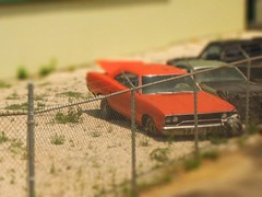 1970 Plymouth Roadrunner Tilt Shift (Littlepixel) Tags: photoshop miniature fake mini kit wreck musclecar fts generallee dodgecharger tiltshift toytown lensblur railwaylayout