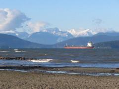 Mountains near Vancouver (litlnemo) Tags: blue sky mountains beach vancouver wow ship anniversary 2006 vancouverbc