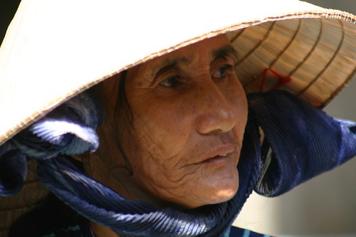 Sales woman at the market in Phan Thiet...