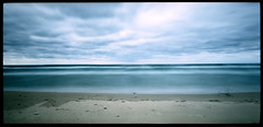 Lake Michigan (John Baird) Tags: longexposure sky lake beach michigan pinhole lakemichigan greatlakes empire pinholecamera sleepingbeardunes pw sleepingbeardunesnationallakeshore 6x12 homemadepinhole tinyaperture umsoad11