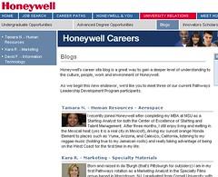 Bloggende werknemers op loopbaansite Honeywell
