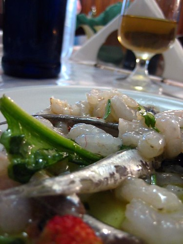 White anchovies and shrimp, marinated