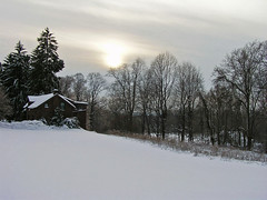 Pale Winter Sunset (CountryDreaming) Tags: trees winter sunset ohio sky sun house snow clouds searchthebest pale flickrsbest