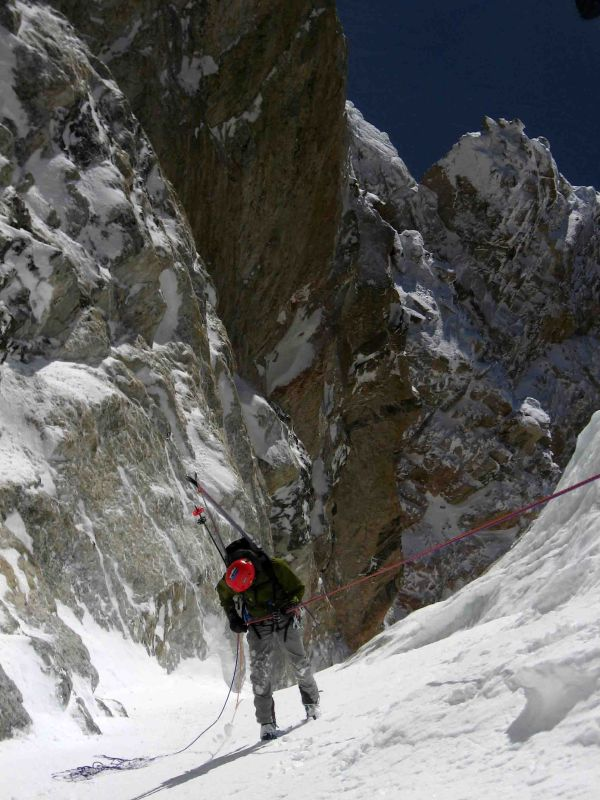 Dustin raps the Stettner Couloir on the Grand Teton