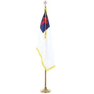 christian flag on stand
