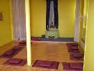 La salle de méditation au Centre Bouddhiste de l'Ile de France, à Paris.