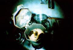 You have to start somewhere (Emanuele Rosso) Tags: film kitchen coffee lomo xpro crossprocessed fisheye caff moka cucina pellicola kodakelitechrome400