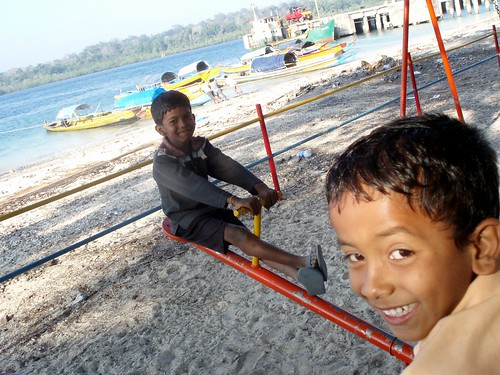 Children playing and smiling