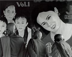 temptation (richard thomson) Tags: blackandwhite bw 3 three monks 35mmfilm fp4 vientiane nikonfe2 thatluangfestival