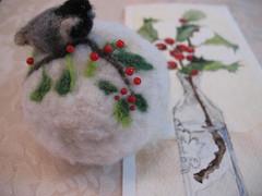 Chickadee, holly and  snow (Needled by Nydam) Tags: bird holly chickadee pincushion letitsnow hsa7snow