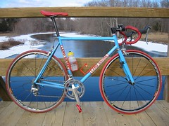 Land Shark.  Winter riding. (d.goligorsky) Tags: red look team italia panel 10 steel tires elite thomson sprint wetpaint keo ultegra landshark csc mavic selle chrisking vittoria shimano ksyrium flite filletbrazed 3ttt handbuild
