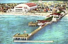 View from ocean showing Auditorium and Convention Hall, Atlantic City, N.J. (Jasperdo) Tags: history architecture newjersey postcards atlanticcity oldpostcards vintagepostcards milliondollarpier historicpostcards