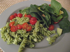 fusilli with pesto and feta
