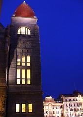 Redcapped tower of National Theatre (Lalallallala) Tags: dark helsinki nationaltheatre rautatientori jugend jugendstil bluemoment