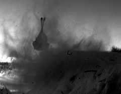 Powder Keg (Kaddy) Tags: blackandwhite bw snow motion ski jump movement action powder snowboard normy innormysdreams