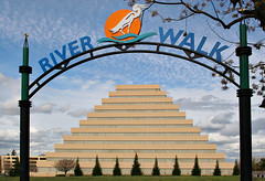 Ziggurat Building 3049 (casch52) Tags: california west building 20d architecture canon river photo pyramid walk landmark photograph sacramento unusual riverwalk ziggurat familygetty