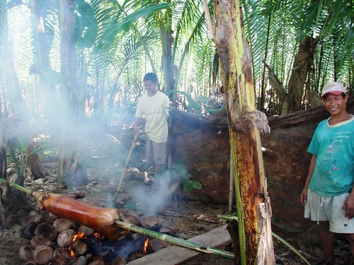 Philippines,Pinoy,Filipino,Pilipino,Buhay,Life,people,pictures,photos,rural,scene, man, traditional, food, lechon roast pork cooking celebration