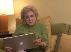 Actress Betty White with Apple Mac