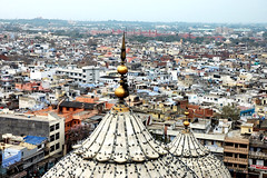 Bird's eye View of Old Delhi. (~FreeBirD~) Tags: life old india tower heritage colors birds golden high nikon bravo view d70 top delhi tomb places mani sharp february feb masjid congestion crowded jama olddelhi babbar nikonstunninggallery meenar lovemax manibabbar httpbirdofpreyspaceslivecom httplamenblogspotcom
