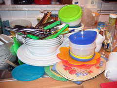 very big pile of dirty dishes