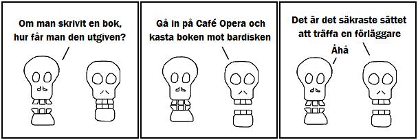 Om man skrivit en bok, hur får man den utgiven?; Gå in på Café Opera och kasta boken mot bardisken; Det är säkraste sättet att träffa en förläggare; Åhå