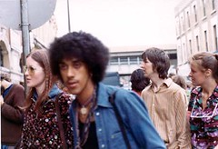 Phil Lynott hanging out 1973 (Glenda GlitaGrrl) Tags: london rock bass adventure 70s boho phillynott waroftheworlds sunnies