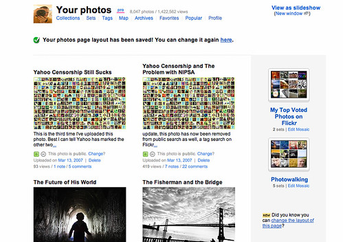 New Flickr Layout With Sets of Sets