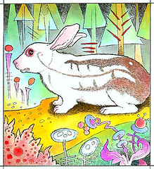244. Unevenly Albino Alvin (pageofbats) Tags: rabbit bunny bunnies illustration ink watercolor spam albino freshspam spamheaders 700bunnies 700thingsgroupbunnies 700thingsgroup700bunnies spamheader